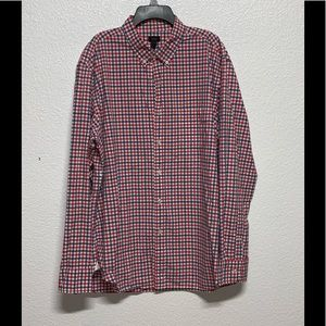 J. Crew red white and blue button up dress shirt